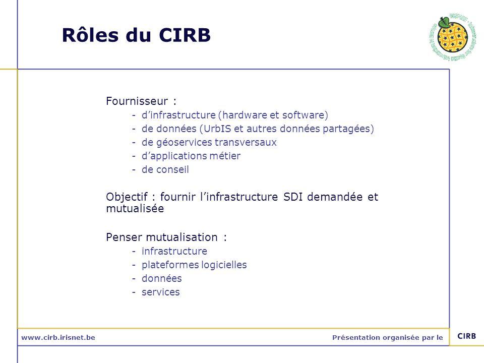 www.cirb.irisnet.bePrésentation organisée par le Rôles du CIRB Fournisseur : -dinfrastructure (hardware et software) -de données (UrbIS et autres donn