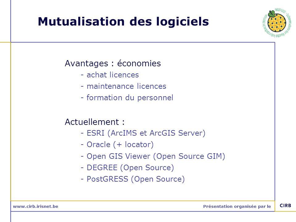 www.cirb.irisnet.bePrésentation organisée par le Mutualisation des logiciels Avantages : économies -achat licences -maintenance licences -formation du