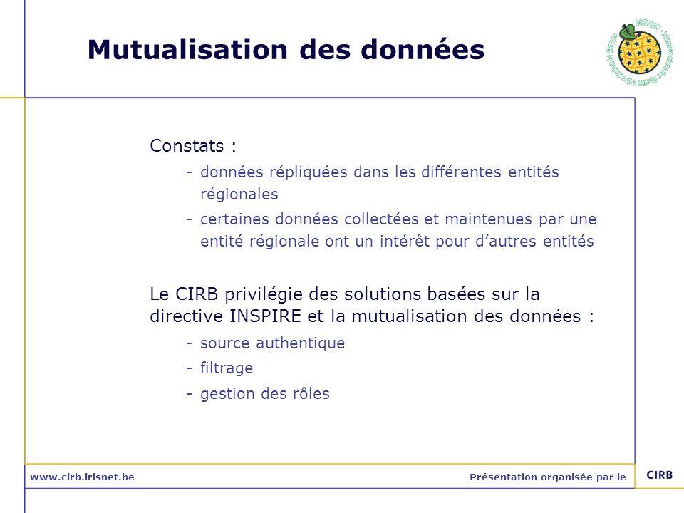 www.cirb.irisnet.bePrésentation organisée par le Mutualisation des données Constats : -données répliquées dans les différentes entités régionales -cer