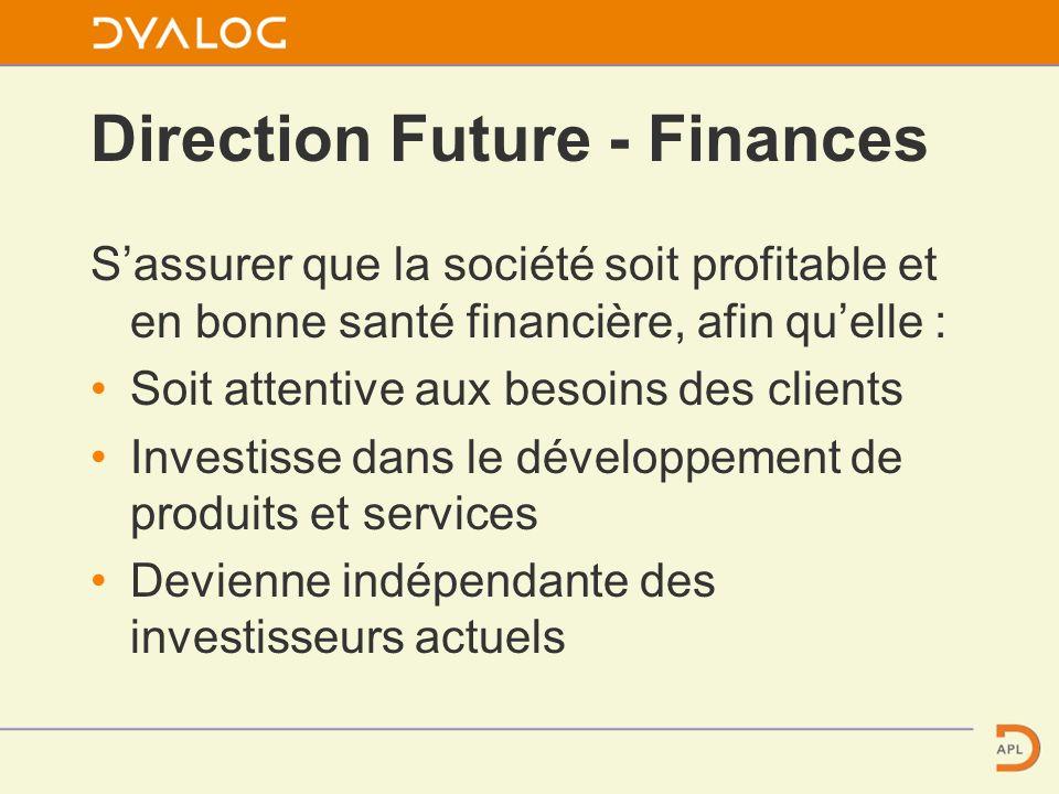 Direction Future - Finances Sassurer que la société soit profitable et en bonne santé financière, afin quelle : Soit attentive aux besoins des clients Investisse dans le développement de produits et services Devienne indépendante des investisseurs actuels