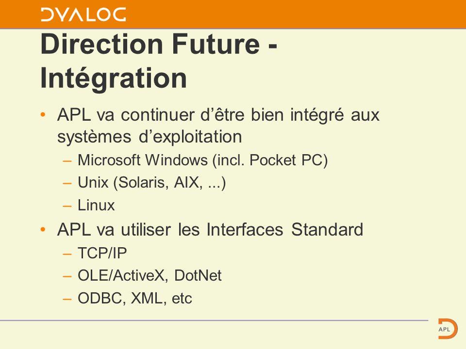 Direction Future - Intégration APL va continuer dêtre bien intégré aux systèmes dexploitation – Microsoft Windows (incl.