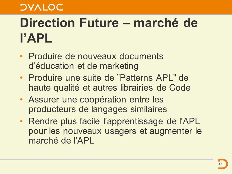 Direction Future – marché de lAPL Produire de nouveaux documents déducation et de marketing Produire une suite de Patterns APL de haute qualité et autres librairies de Code Assurer une coopération entre les producteurs de langages similaires Rendre plus facile lapprentissage de lAPL pour les nouveaux usagers et augmenter le marché de lAPL