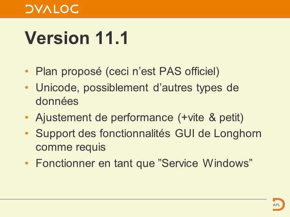 Version 11.1 Plan proposé (ceci nest PAS officiel) Unicode, possiblement dautres types de données Ajustement de performance (+vite & petit) Support des fonctionnalités GUI de Longhorn comme requis Fonctionner en tant que Service Windows