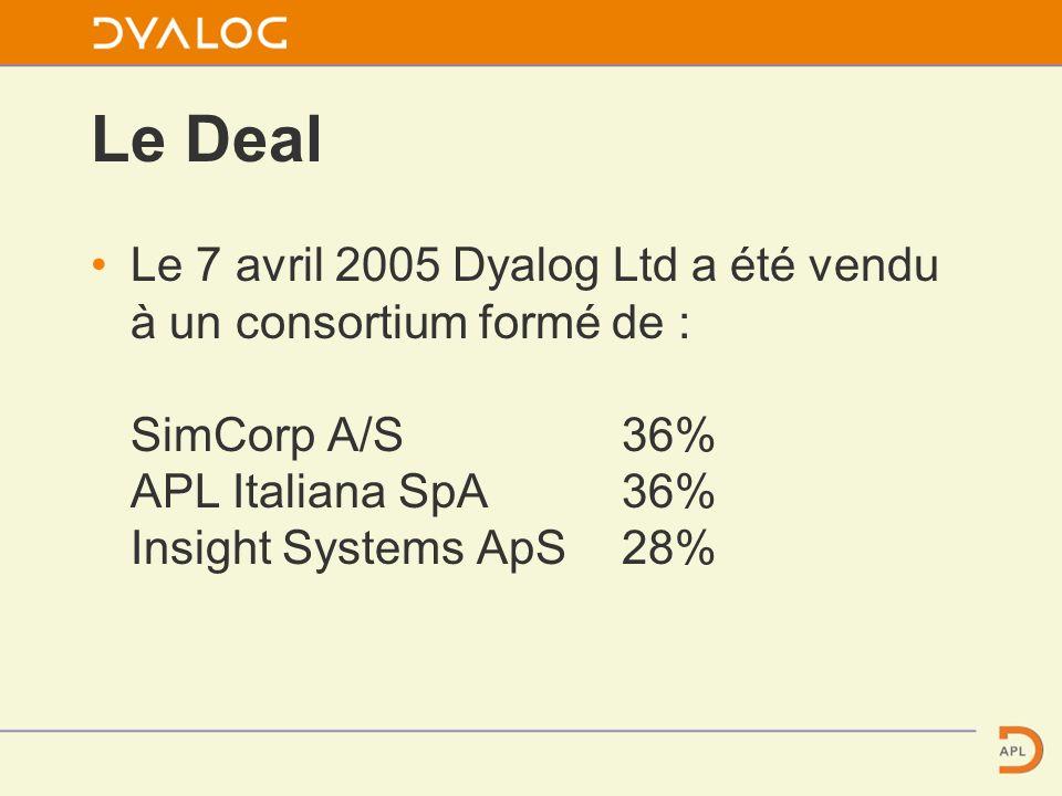 Le Deal Le 7 avril 2005 Dyalog Ltd a été vendu à un consortium formé de : SimCorp A/S36% APL Italiana SpA 36% Insight Systems ApS28%