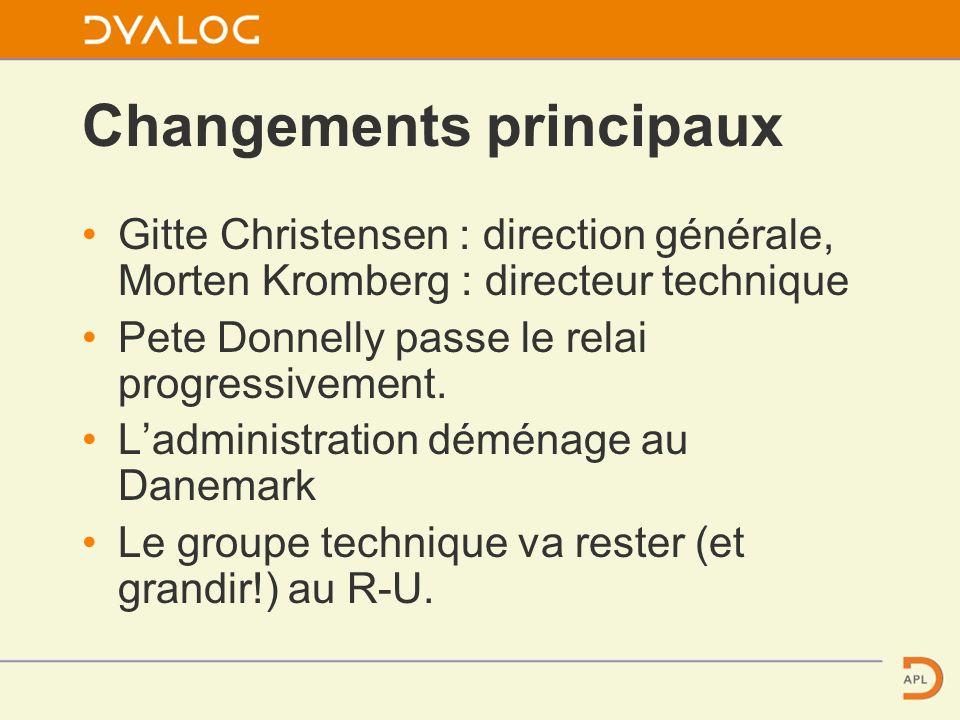 Changements principaux Gitte Christensen : direction générale, Morten Kromberg : directeur technique Pete Donnelly passe le relai progressivement.