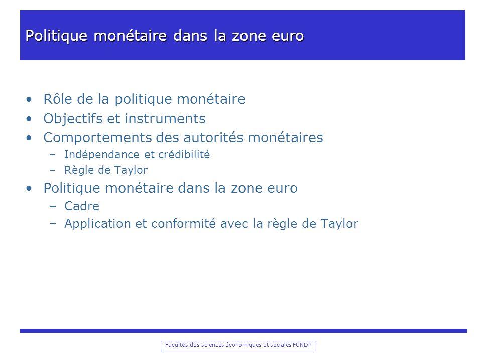 Facultés des sciences économiques et sociales FUNDP Politique monétaire dans la zone euro Rôle de la politique monétaire Objectifs et instruments Comp