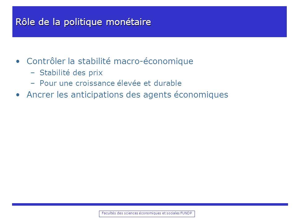 Facultés des sciences économiques et sociales FUNDP Rôle de la politique monétaire Contrôler la stabilité macro-économique –Stabilité des prix –Pour u