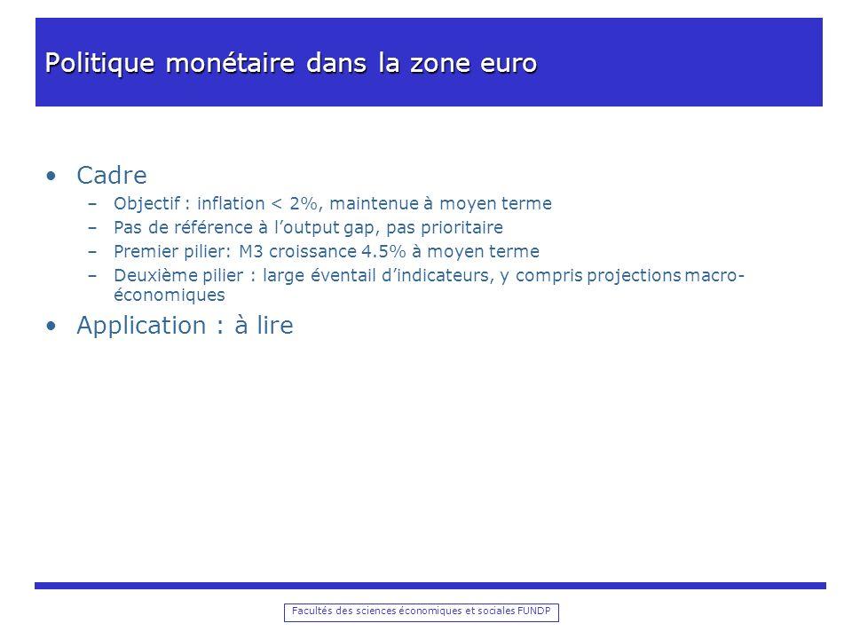 Facultés des sciences économiques et sociales FUNDP Politique monétaire dans la zone euro Cadre –Objectif : inflation < 2%, maintenue à moyen terme –P