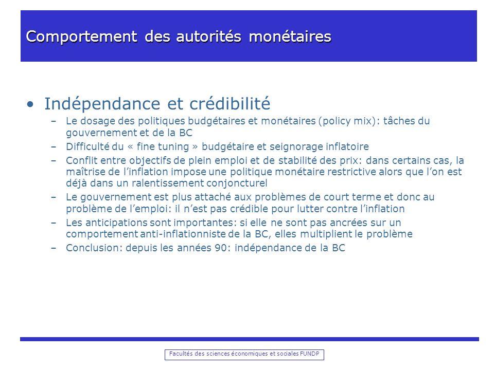 Facultés des sciences économiques et sociales FUNDP Comportement des autorités monétaires Indépendance et crédibilité –Le dosage des politiques budgét