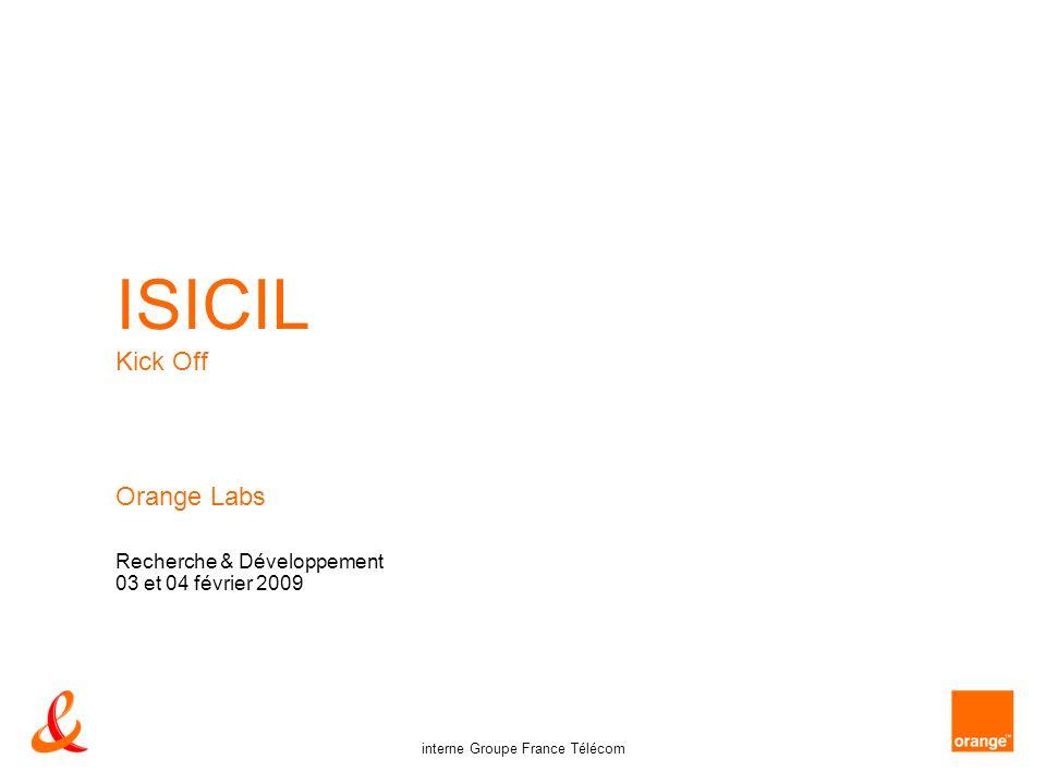 12 interne Groupe France Télécom Orange Labs - Recherche & Développement – ISICIL – 03 et 04 fév 2009 usage existant deux usages ISICIL existent à la R&D –utilisateurs passifs : moteur de recherche – moteur Intranet groupe – moteurs dédiés sur certains sites (GED, …) – moteurs R&D (y compris expérimentation Exalead …) –utilisateurs actifs : collaboration asynchrone – disques partagés – wikis (plusieurs souches) – outils groupe : Microsoft Exchange, Sharepoint, Lotus Quick Place …