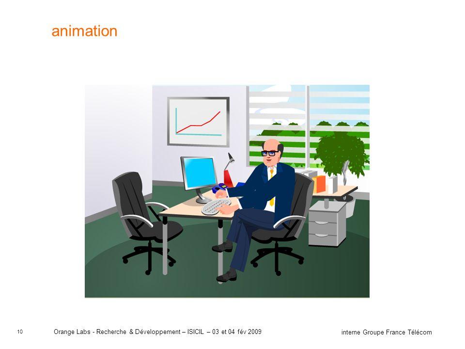 10 interne Groupe France Télécom Orange Labs - Recherche & Développement – ISICIL – 03 et 04 fév 2009 animation