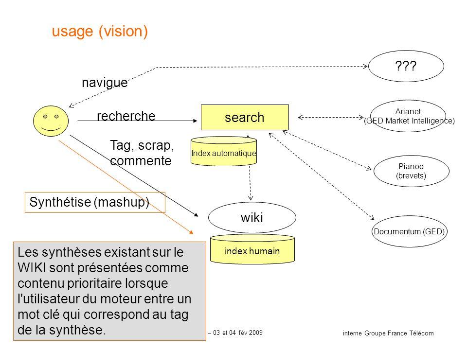 16 interne Groupe France Télécom Orange Labs - Recherche & Développement – ISICIL – 03 et 04 fév 2009 usage (vision) wiki recherche Tag, scrap, commen