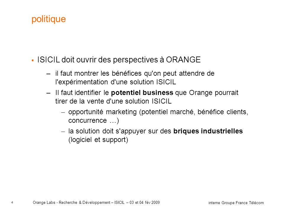 4 interne Groupe France Télécom Orange Labs - Recherche & Développement – ISICIL – 03 et 04 fév 2009 politique ISICIL doit ouvrir des perspectives à O