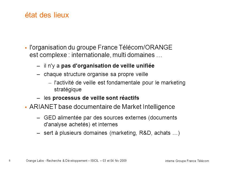 5 interne Groupe France Télécom Orange Labs - Recherche & Développement – ISICIL – 03 et 04 fév 2009 état des lieux l'organisation du groupe France Té