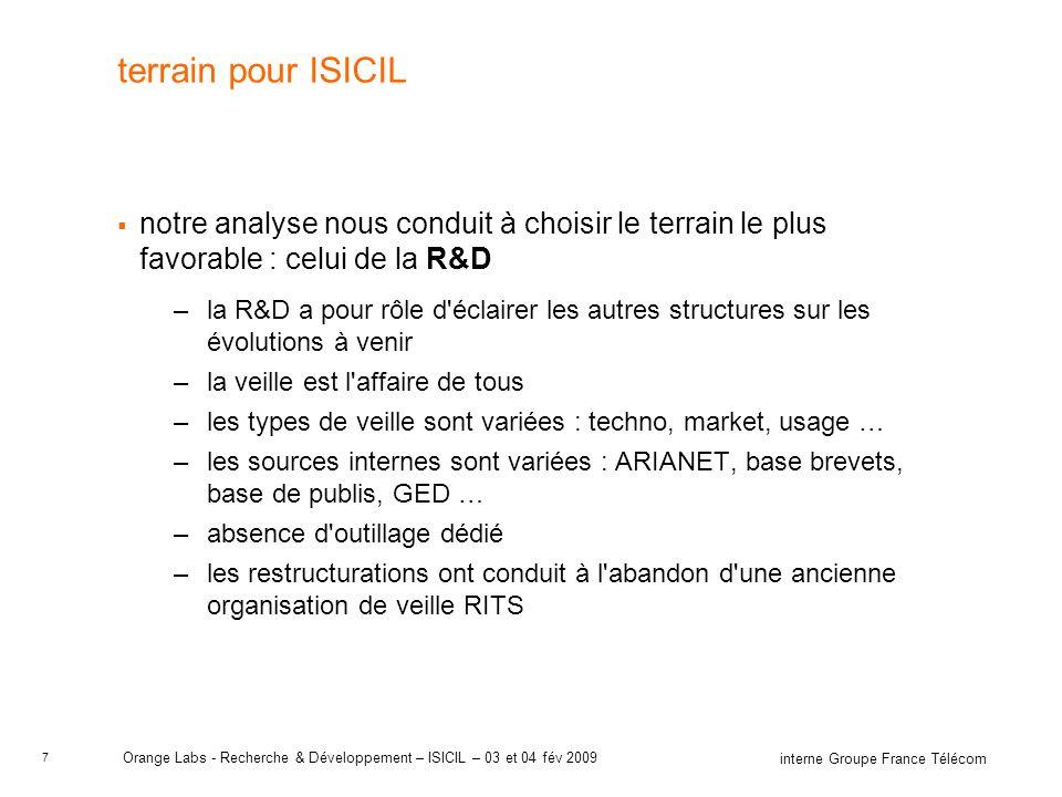 7 interne Groupe France Télécom Orange Labs - Recherche & Développement – ISICIL – 03 et 04 fév 2009 terrain pour ISICIL notre analyse nous conduit à