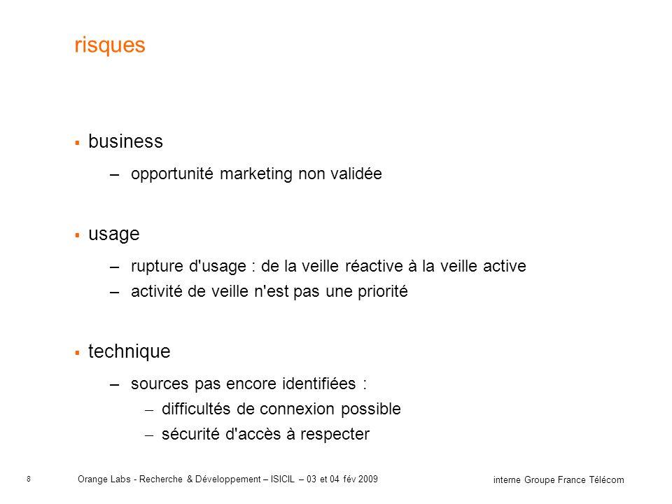 8 interne Groupe France Télécom Orange Labs - Recherche & Développement – ISICIL – 03 et 04 fév 2009 risques business –opportunité marketing non valid