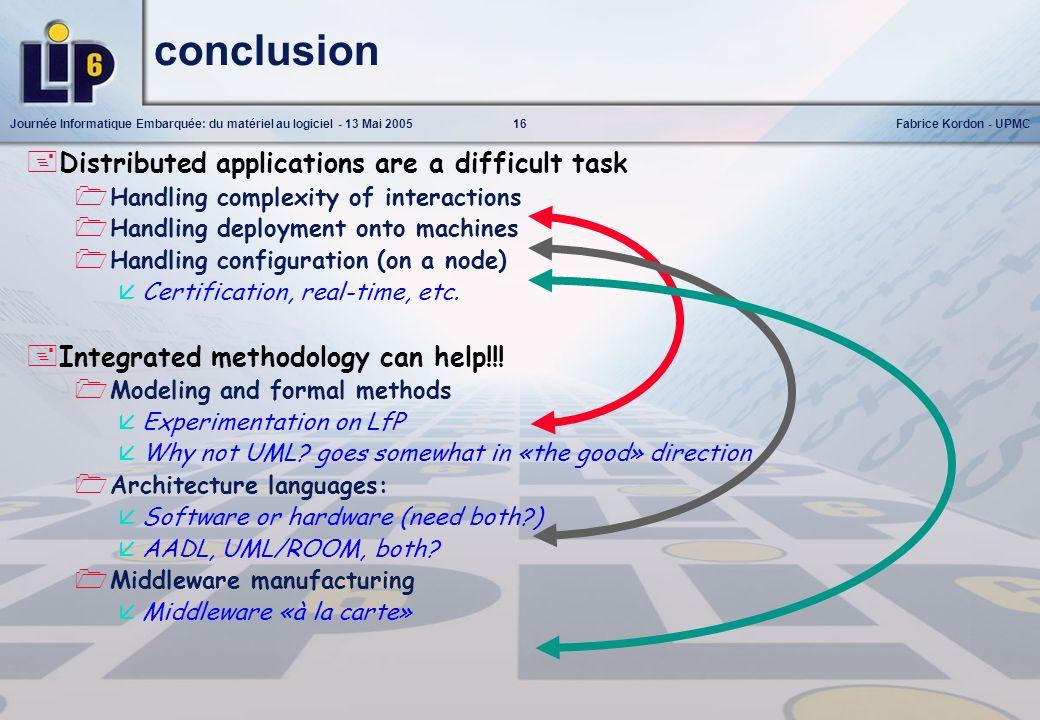 16Journée Informatique Embarquée: du matériel au logiciel - 13 Mai 2005Fabrice Kordon - UPMC conclusion Distributed applications are a difficult task