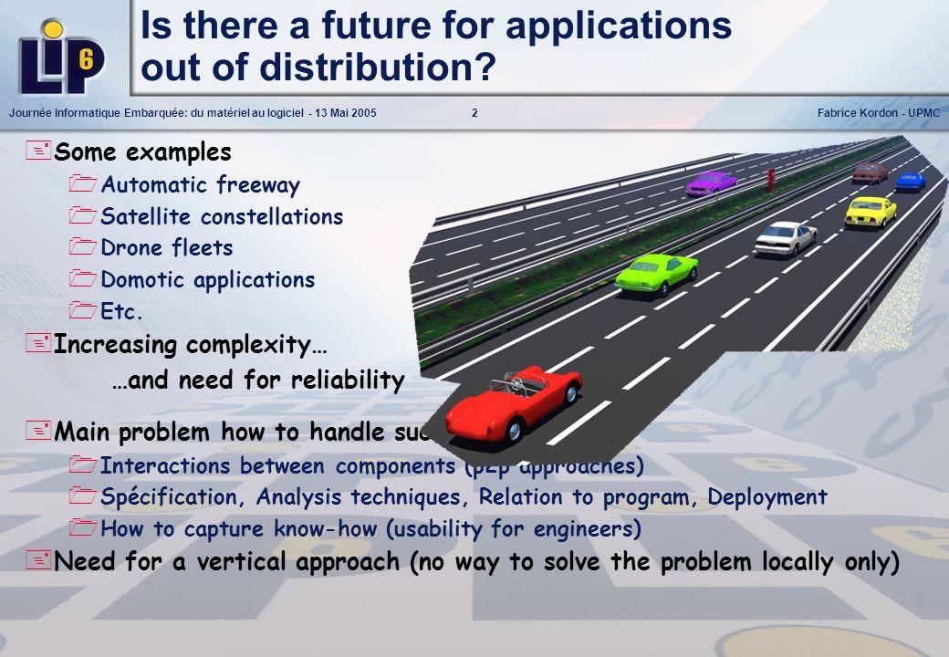 2Journée Informatique Embarquée: du matériel au logiciel - 13 Mai 2005Fabrice Kordon - UPMC Is there a future for applications out of distribution? So