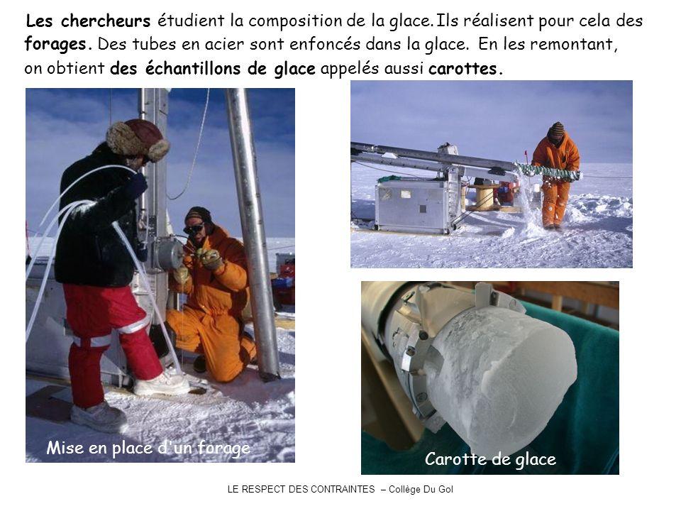 LE RESPECT DES CONTRAINTES – Collège Du Gol Les chercheurs étudient la composition de la glace. Mise en place d'un forage Ils réalisent pour cela des