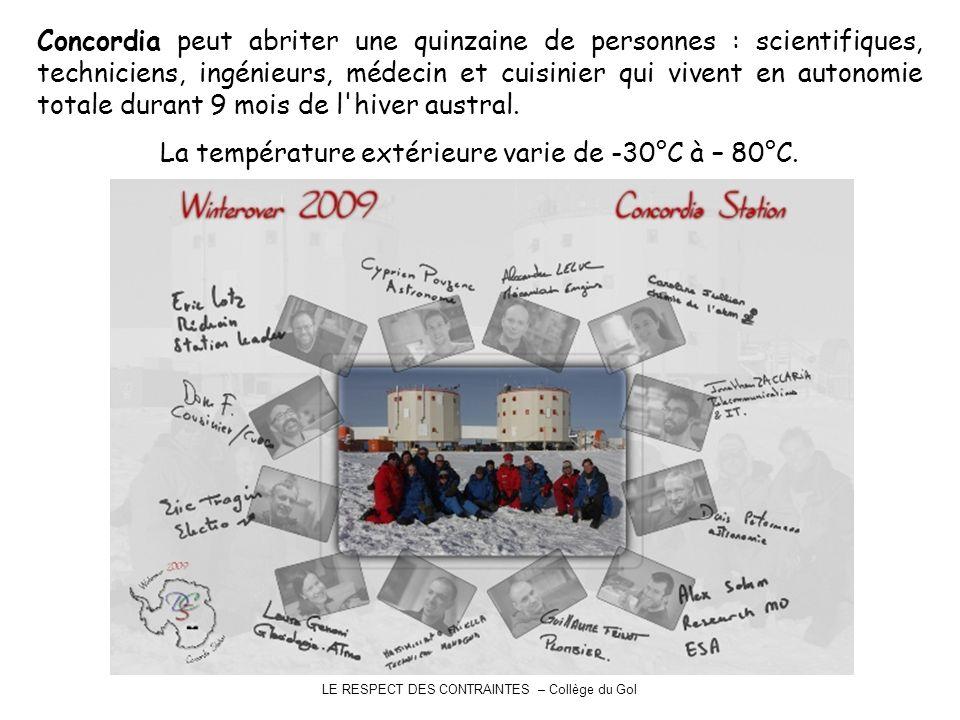 LE RESPECT DES CONTRAINTES – Collège du Gol Concordia peut abriter une quinzaine de personnes : scientifiques, techniciens, ingénieurs, médecin et cuisinier qui vivent en autonomie totale durant 9 mois de l hiver austral.