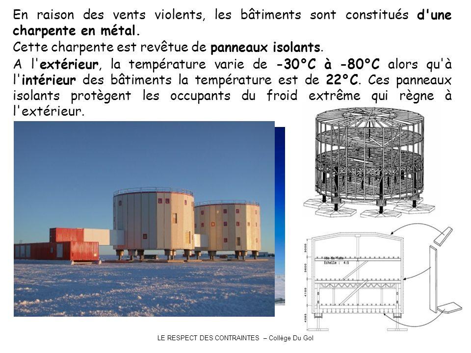 LE RESPECT DES CONTRAINTES – Collège Du Gol En raison des vents violents, les bâtiments sont constitués d'une charpente en métal. Cette charpente est