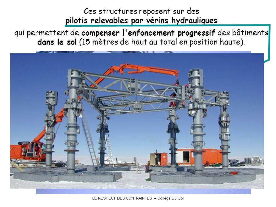 LE RESPECT DES CONTRAINTES – Collège Du Gol Ces structures reposent sur des pilotis relevables par vérins hydrauliques qui permettent de compenser l enfoncement progressif des bâtiments dans le sol (15 mètres de haut au total en position haute).
