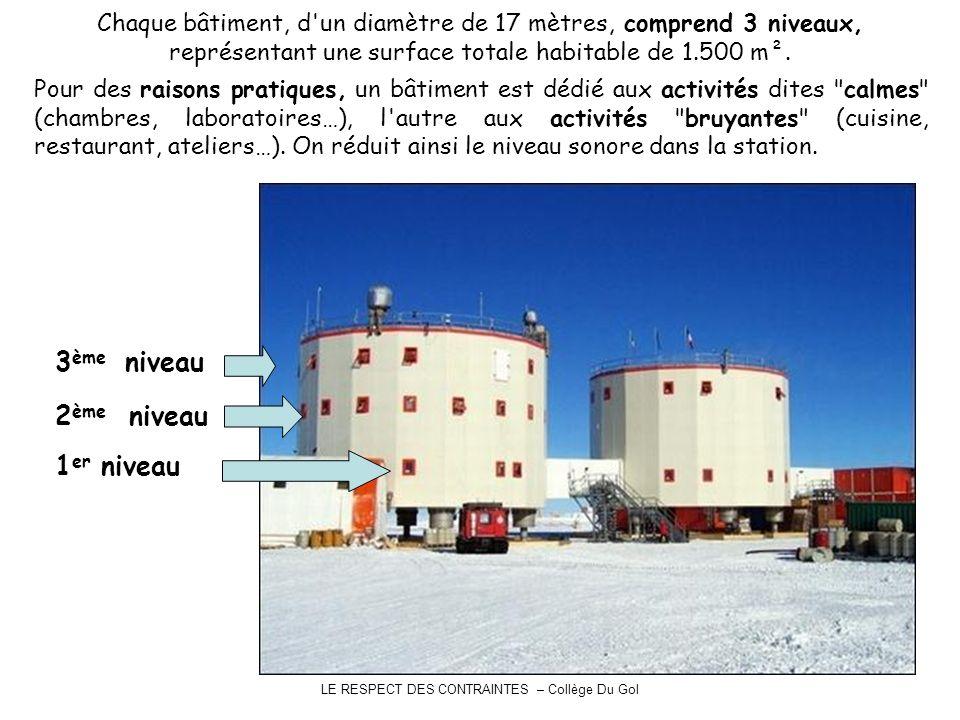 LE RESPECT DES CONTRAINTES – Collège Du Gol Chaque bâtiment, d'un diamètre de 17 mètres, comprend 3 niveaux, représentant une surface totale habitable