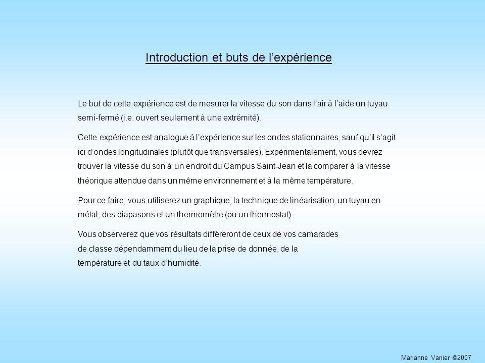 Introduction et buts de lexpérience Le but de cette expérience est de mesurer la vitesse du son dans lair à laide un tuyau semi-fermé (i.e.