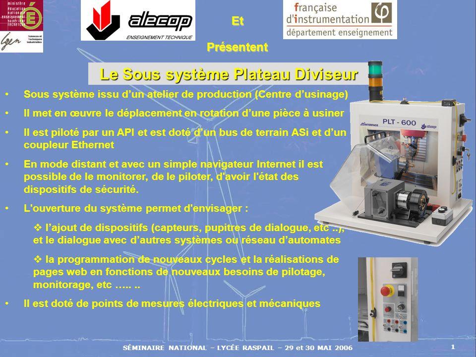 SÉMINAIRE NATIONAL – LYCÉE RASPAIL – 29 et 30 MAI 2006 1 Et Présentent Sous système issu dun atelier de production (Centre dusinage) Il met en œuvre l