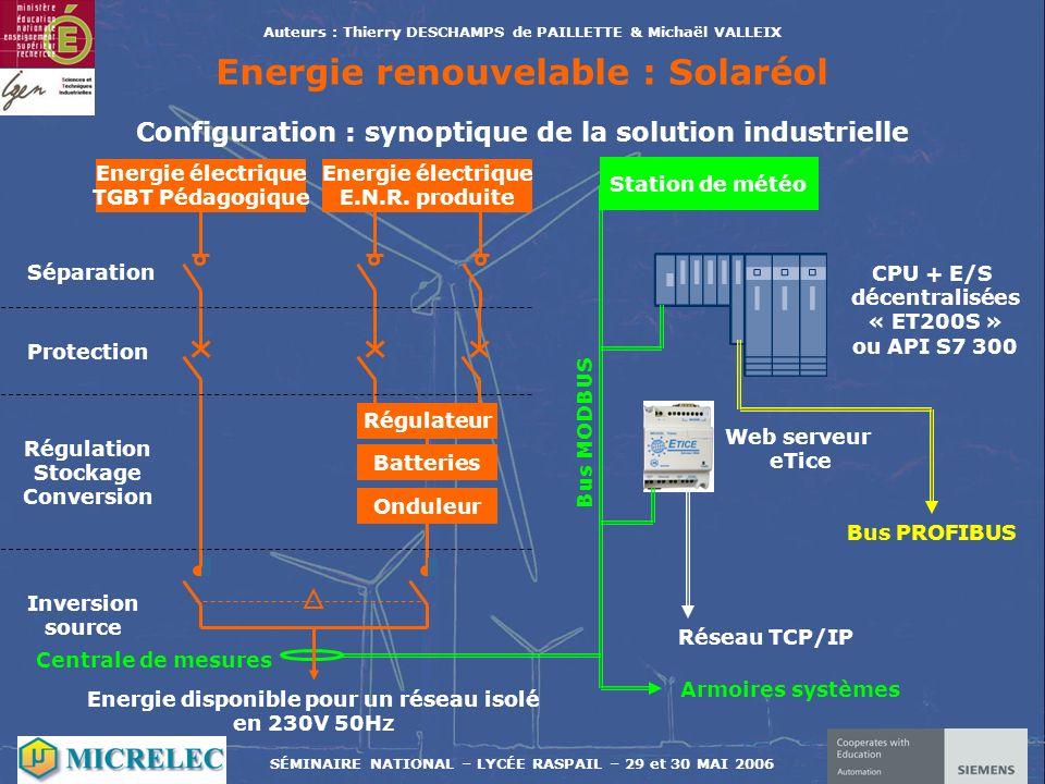 Auteurs : Thierry DESCHAMPS de PAILLETTE & Michaël VALLEIX Energie renouvelable : Solaréol Energie électrique TGBT Pédagogique Energie électrique E.N.