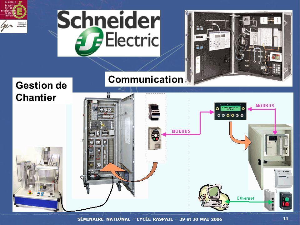 SÉMINAIRE NATIONAL – LYCÉE RASPAIL – 29 et 30 MAI 2006 11 Communication Gestion de Chantier