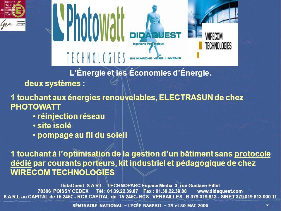 SÉMINAIRE NATIONAL – LYCÉE RASPAIL – 29 et 30 MAI 2006 2 DidaQuest S.A.R.L. TECHNOPARC Espace Média 3, rue Gustave Eiffel 78306 POISSY CEDEX Tél : 01.