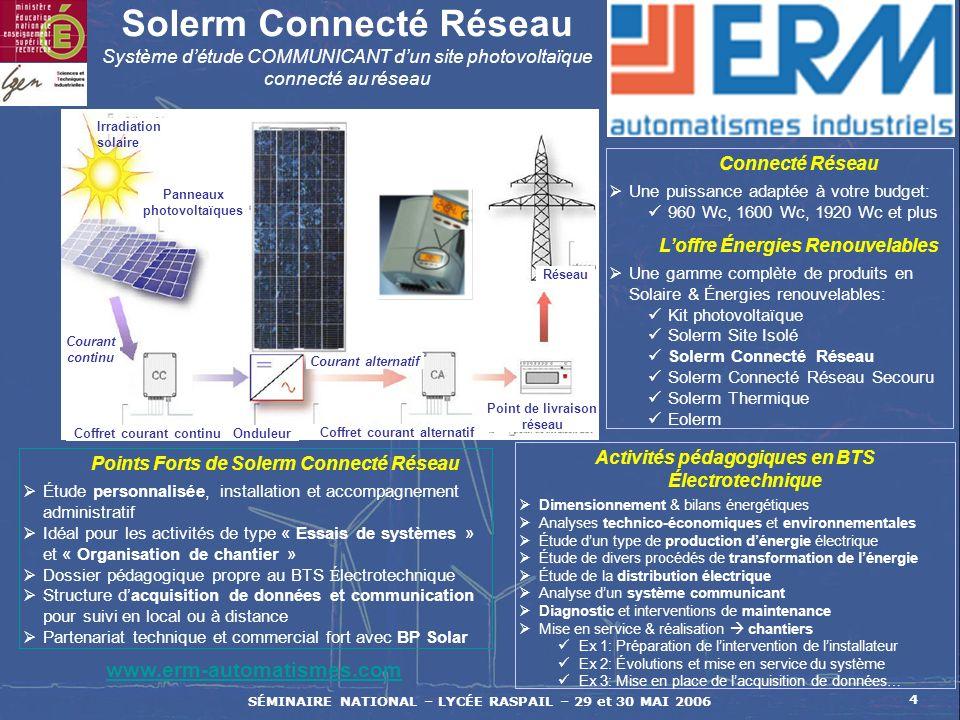 SÉMINAIRE NATIONAL – LYCÉE RASPAIL – 29 et 30 MAI 2006 4 Activités pédagogiques en BTS Électrotechnique Dimensionnement & bilans énergétiques Analyses