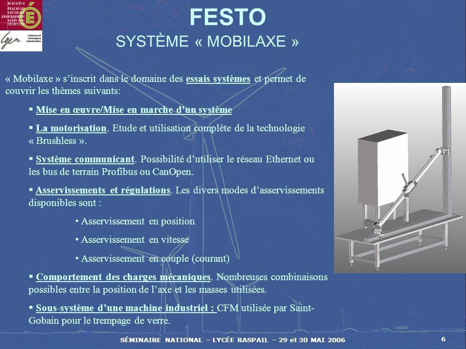 SÉMINAIRE NATIONAL – LYCÉE RASPAIL – 29 et 30 MAI 2006 6 FESTO SYSTÈME « MOBILAXE » « Mobilaxe » sinscrit dans le domaine des essais systèmes et perme