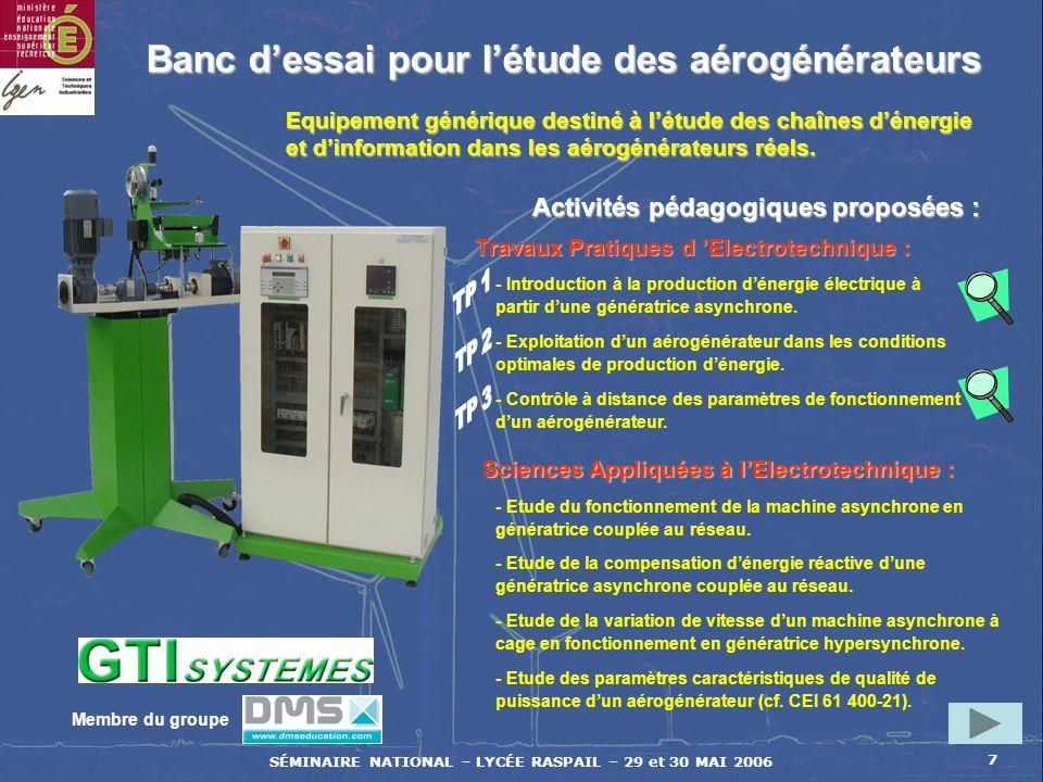 SÉMINAIRE NATIONAL – LYCÉE RASPAIL – 29 et 30 MAI 2006 7 Banc dessai pour létude des aérogénérateurs Activités pédagogiques proposées : Equipement gén