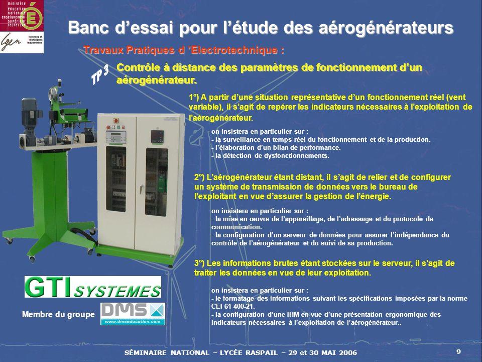 SÉMINAIRE NATIONAL – LYCÉE RASPAIL – 29 et 30 MAI 2006 9 Membre du groupe Banc dessai pour létude des aérogénérateurs Banc dessai pour létude des aéro