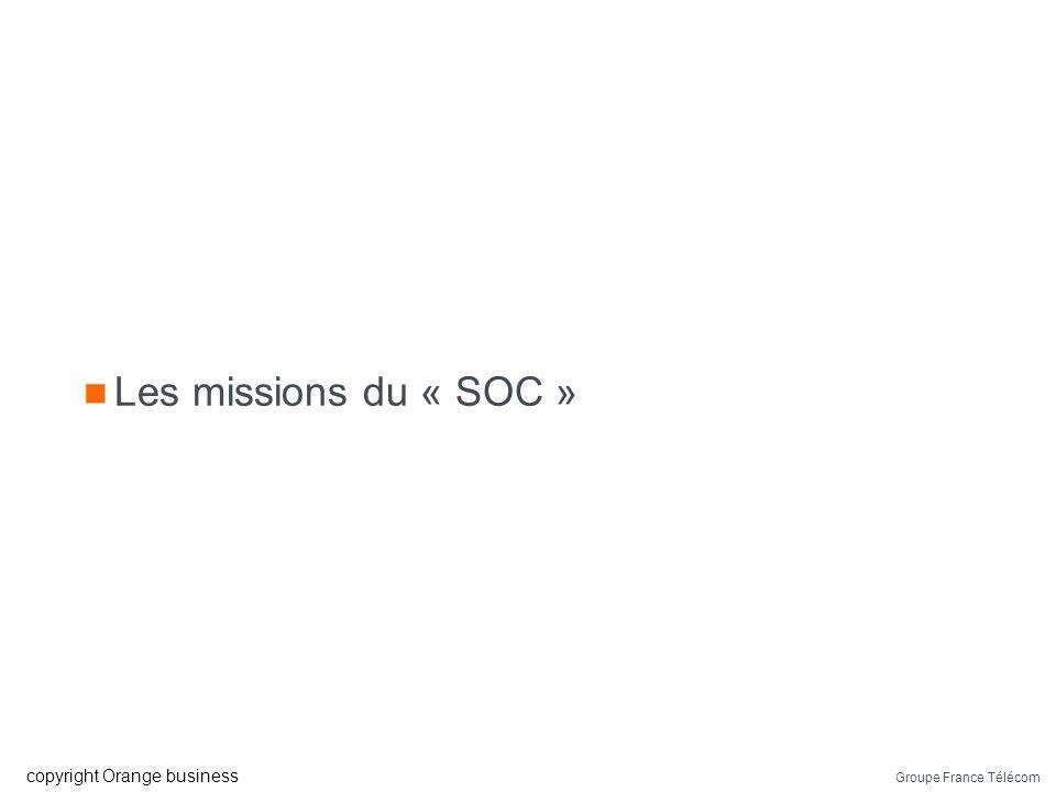 Groupe France Télécom copyright Orange business Ressources humaines « SOC » type Un/une responsable 7 personnes minimum pour le niveau 1/2 24/7 5/7 pe