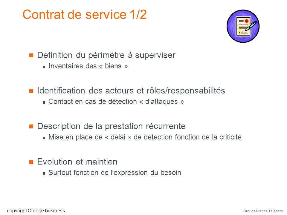 Groupe France Télécom copyright Orange business Phase récurrente : suite Notification « client » @IP attaquant @IP, port machine cible Evénements déte