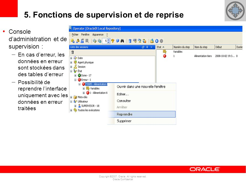 Copyright ©2007, Oracle. All rights reserved. Oracle Confidential 5. Fonctions de supervision et de reprise Console dadministration et de supervision