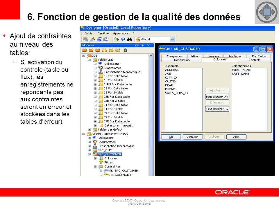 Copyright ©2007, Oracle. All rights reserved. Oracle Confidential 6. Fonction de gestion de la qualité des données Ajout de contraintes au niveau des