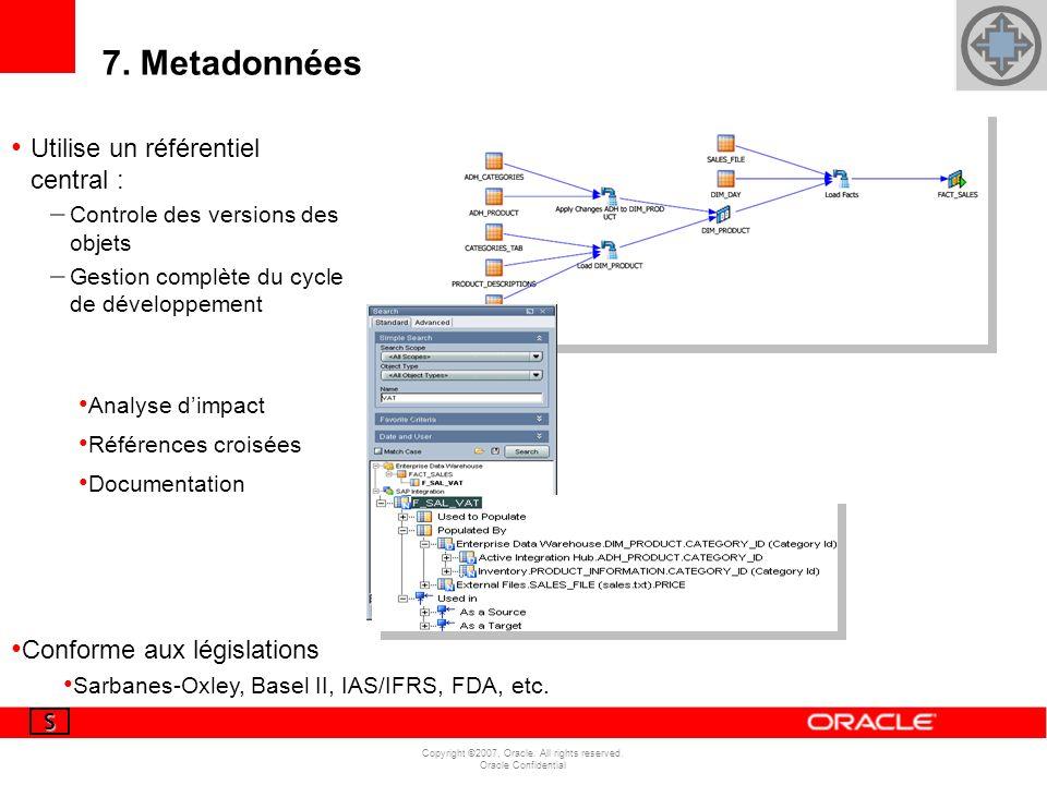 Copyright ©2007, Oracle. All rights reserved. Oracle Confidential 7. Metadonnées Utilise un référentiel central : – Controle des versions des objets –