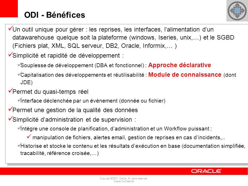 Copyright ©2007, Oracle. All rights reserved. Oracle Confidential Un outil unique pour gérer : les reprises, les interfaces, lalimentation dun datawar