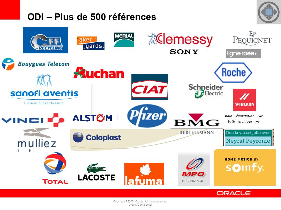 Copyright ©2007, Oracle. All rights reserved. Oracle Confidential ODI – Plus de 500 références