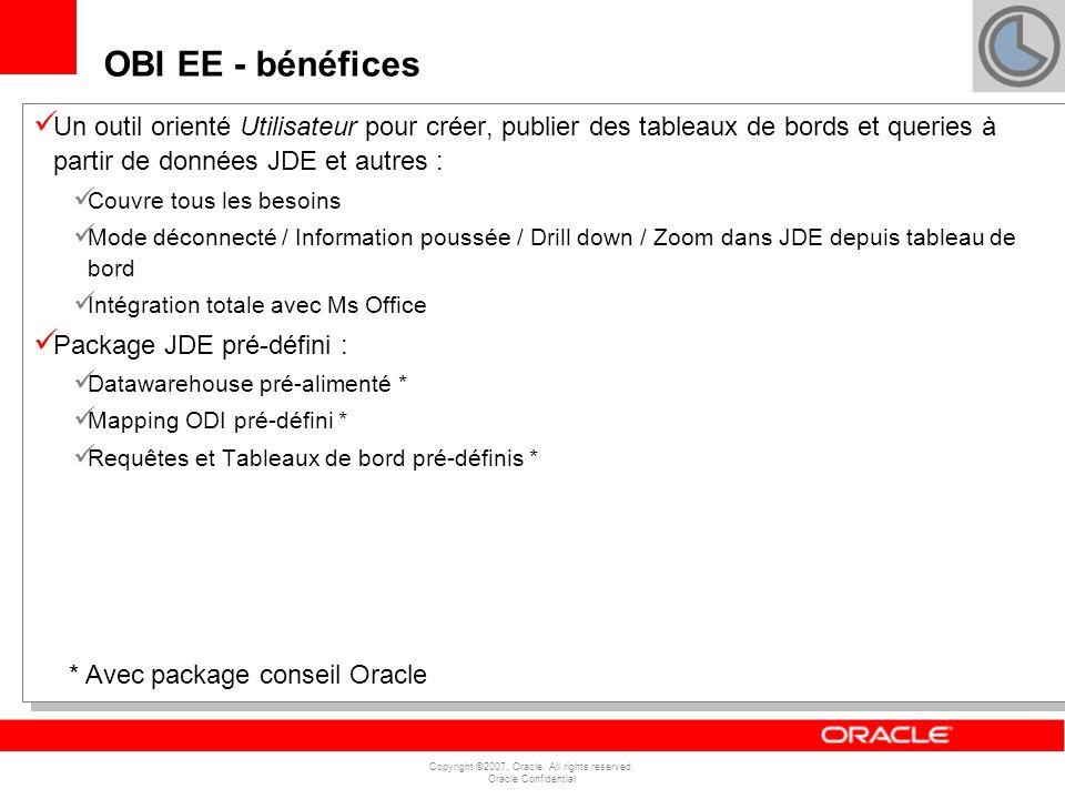 Copyright ©2007, Oracle. All rights reserved. Oracle Confidential Un outil orienté Utilisateur pour créer, publier des tableaux de bords et queries à