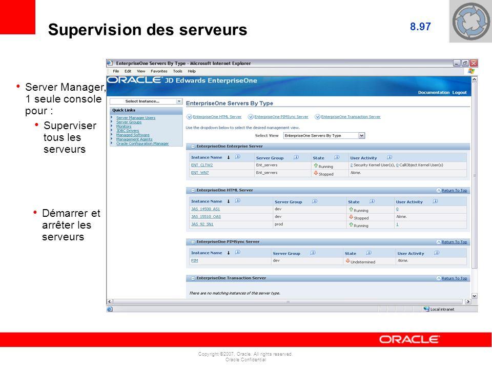 Copyright ©2007, Oracle. All rights reserved. Oracle Confidential JAS Server1 JAS Server2 Enterprise Server1 Supervision des serveurs Server Manager,