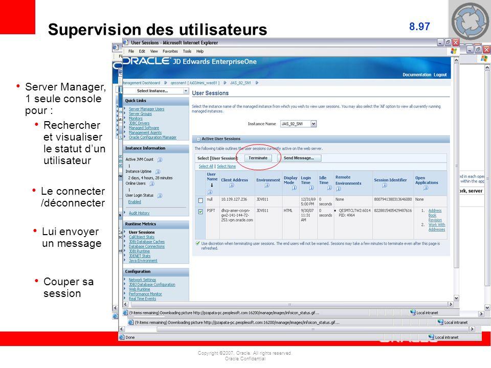 Copyright ©2007, Oracle. All rights reserved. Oracle Confidential Supervision des utilisateurs Server Manager, 1 seule console pour : Rechercher et vi