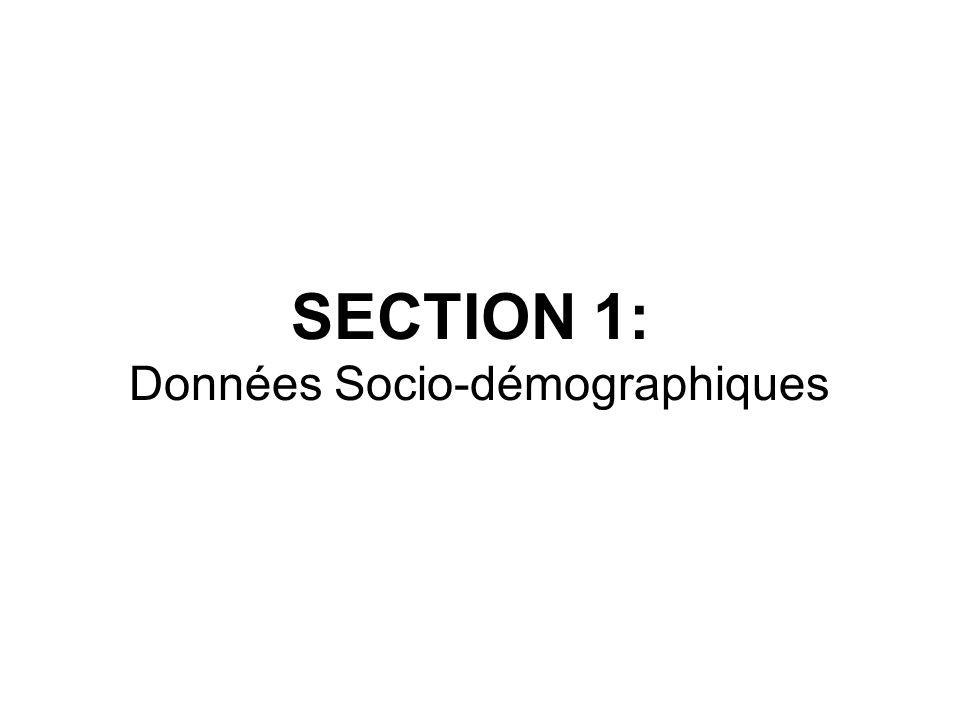 SECTION 1: Données Socio-démographiques