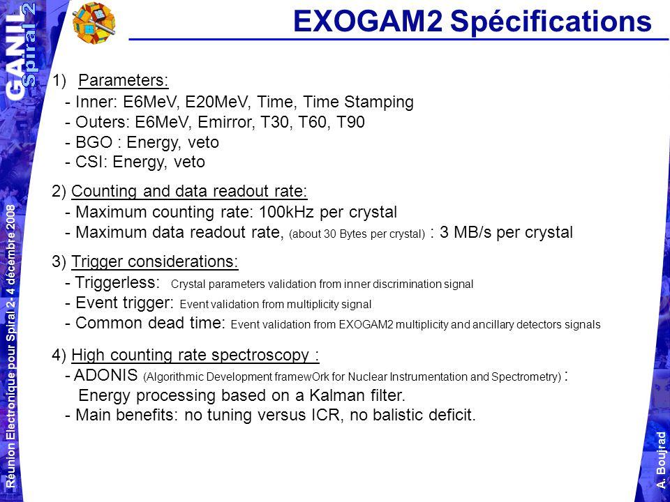 Réunion Electronique pour Spiral 2- 4 décembre 2008 A. Boujrad EXOGAM2 Spécifications 1)Parameters: - Inner: E6MeV, E20MeV, Time, Time Stamping - Oute