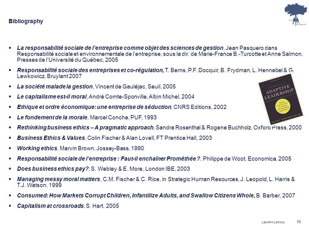 Laurent Ledoux 19 Bibliography La responsabilité sociale de lentreprise comme objet des sciences de gestion, Jean Pasquero dans Responsabilité sociale et environnementale de lentreprise, sous la dir.