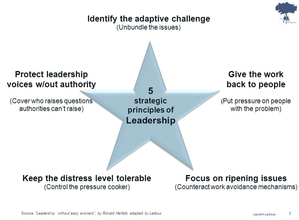Laurent Ledoux 18 Bibliography The practice of adaptive leadership, Ronald Heifetz, Alexander Grashow & Marty Linsky, HBR ed., 2009 Leadership without easy answers, Ronald Heifetz, HBR ed., 1994 Leadership on the line, Ronald Heifetz & Marty Linsky, HBR ed., 2002 Leadership can be taught, Sharon Daloz Parks, HBR ed., 2005 Leading quietly, Joseph Badaracco, HBR ed., 2002 Questions of character, Joseph Badaracco, HBR ed., 2006 Arts of the wise leader, Mark Strom, Sophos ed., 2007 (www.artsofthewiseleader.com) The powers to lead, Joseph Nye, HBR ed., 2008 Leading with wisdom: spiritual-based leadership in business, Peter Pruzan & Kirsten Pruzan Mikkelsen, Response ed., 2009 Rational, Ethical & Spiritual Perspectives on Leadership, Peter Pruzan, Peter Lang ed., 2009 Leadership, Spirituality and the Common Good, Henri-Claude de Bettignies & Mike J.